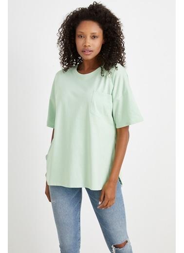Curly Su Yeşili, Tek Cepli Oversıze T-Shırt Yeşil